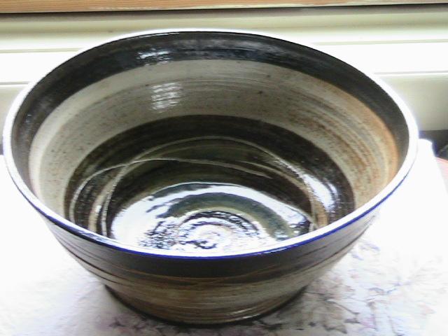 Salt fired stoneware bowl Celadon glaze