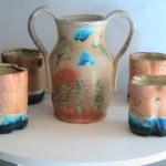 Vase and tumblers  White Stoneware Salt Soda Fired 2015