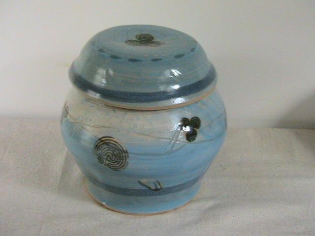 Marine Motif Blue Celadon Stoneware Jar